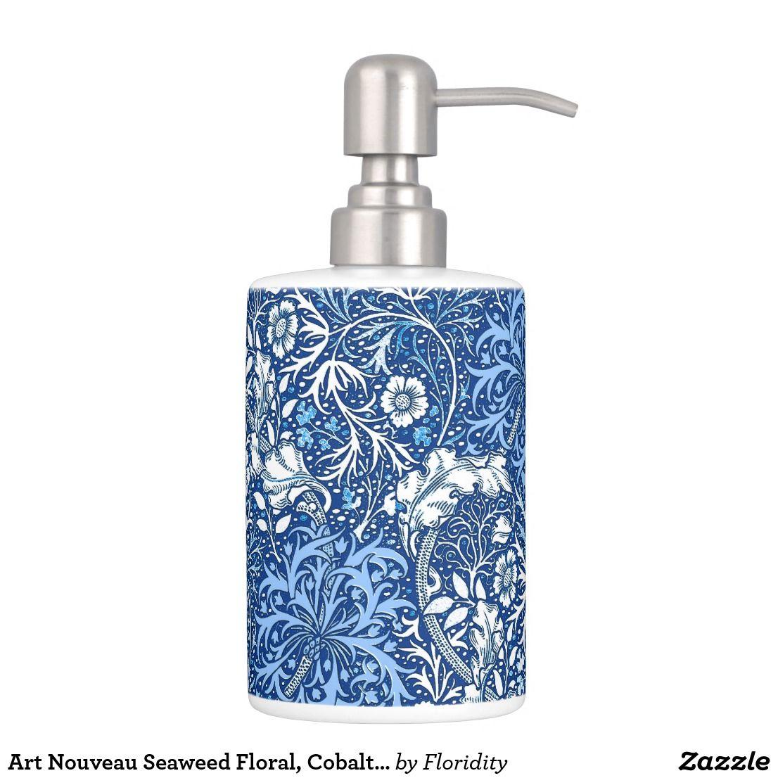 Art Nouveau Seaweed Floral, Cobalt Blue and White Bath Set | Bath ...