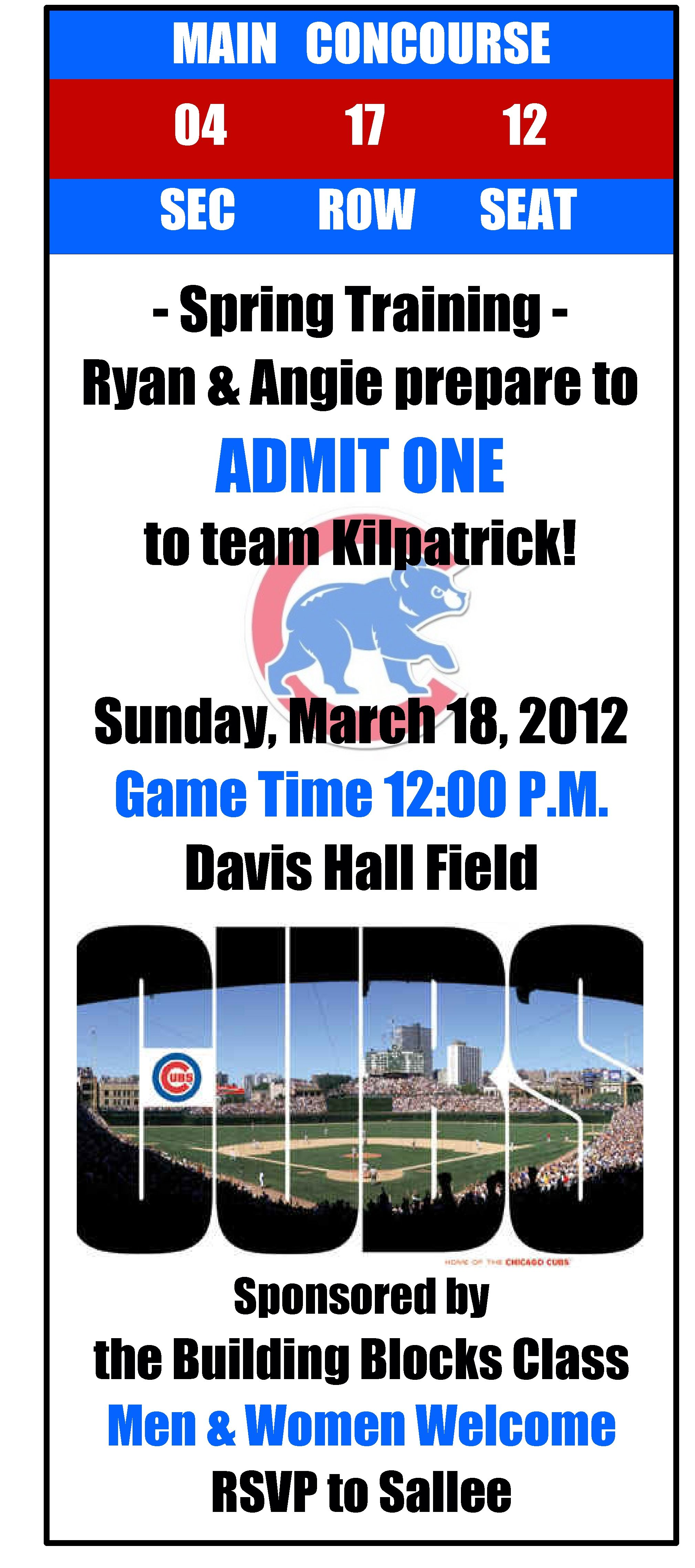 Ticket Invitation: Chicago Cubs couples baby shower! Mom\'s due date ...