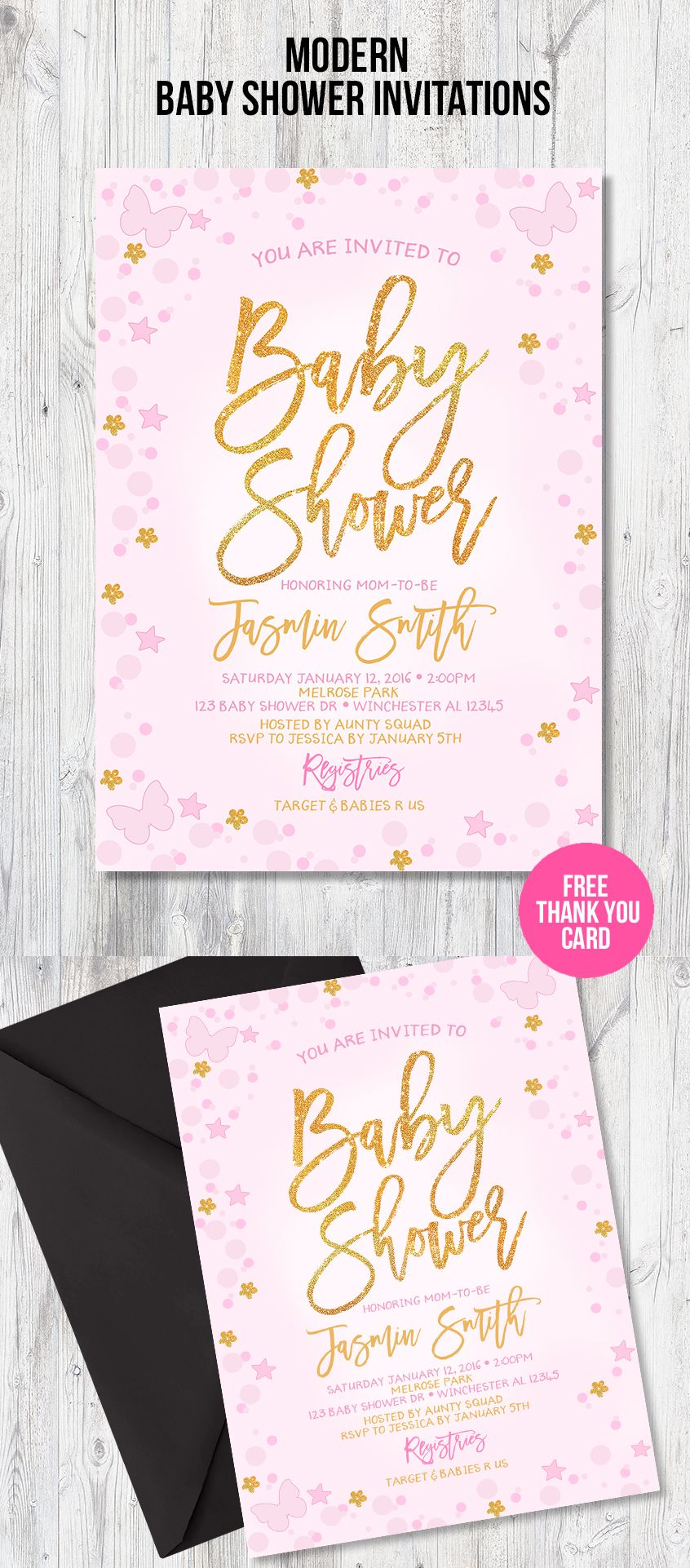 butterfly baby shower invitation pink baby shower invitation
