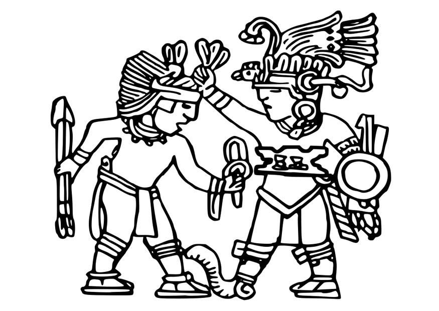 Coloring page Aztec murals img 25572 Coloring Pinterest