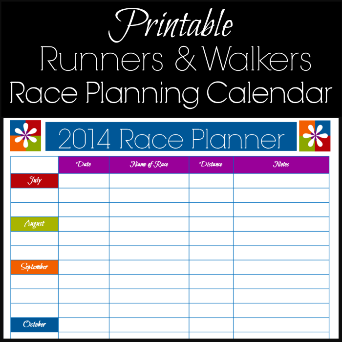 Attractive Must Have For Runners: Plan Your Races For 2014   Free Printable Calendar