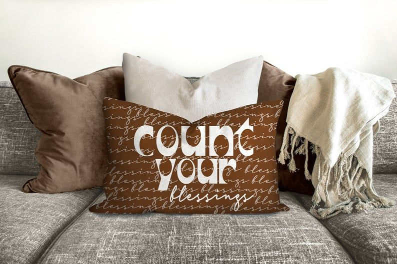 Blessings, cinnamon color, mid century letters, groovy, Boho pillow, retro pillow, throw pillow, pillow cover and insert, accent pillow