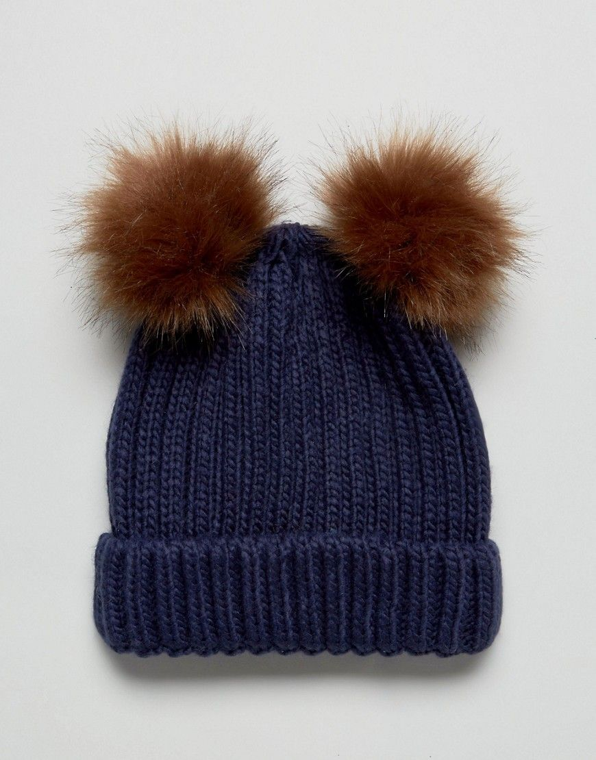 1ccbe19341a Boardmans Knitted Beanie Hat With Double Pom Pom - Navy