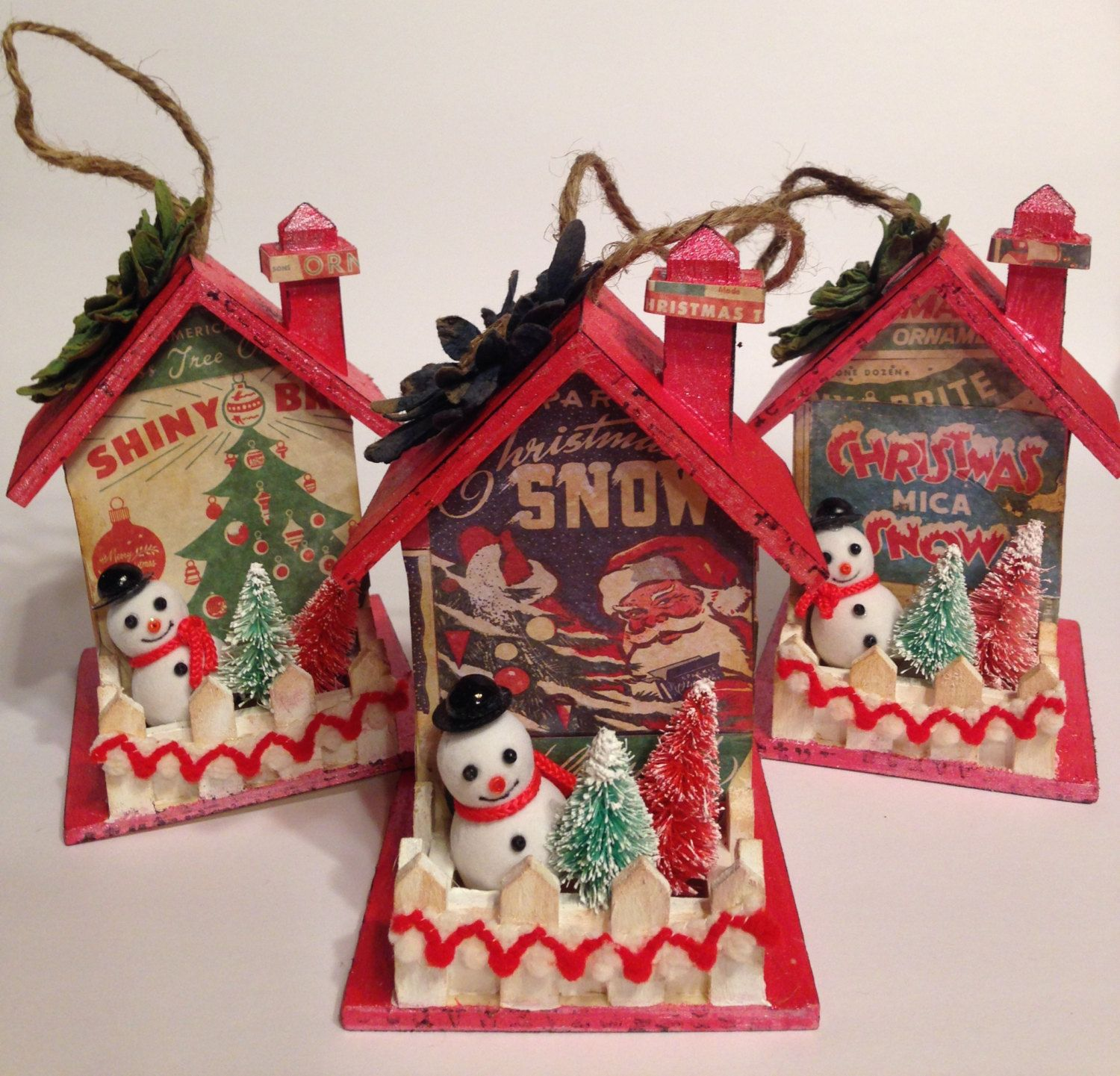 VINTAGE Inspired Christmas Ornaments~Set of 3~SNOWMAN~ Bottlebrush Tree~Birdhouse Ornament~ Shiny Brite~Altered House by ThePokeyPoodle on Etsy