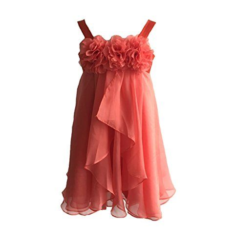 03becac323b34 Princhar Girls Blush Pink Flower Girl Dress Girls Toddler Party Dresses US  5T Coral ** Continue to the product at the image link.