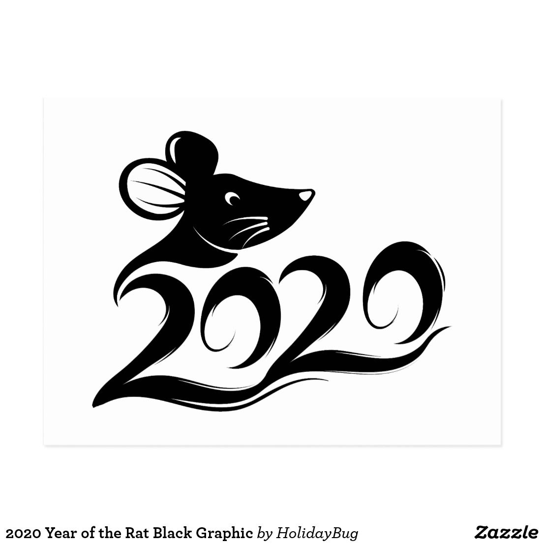 2020 Year of the Rat Black Graphic Postcard Nghệ thuật