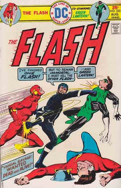 The Flash #235 August, 1975 Dick Giordano Cover Art / The Flash and Green Lantern find that both Iris Allen and Carol Ferris have been kidnapped, and both go to Earth-Two to help the Flash of that world battle Vandal Savage, who has kidnapped Carol.