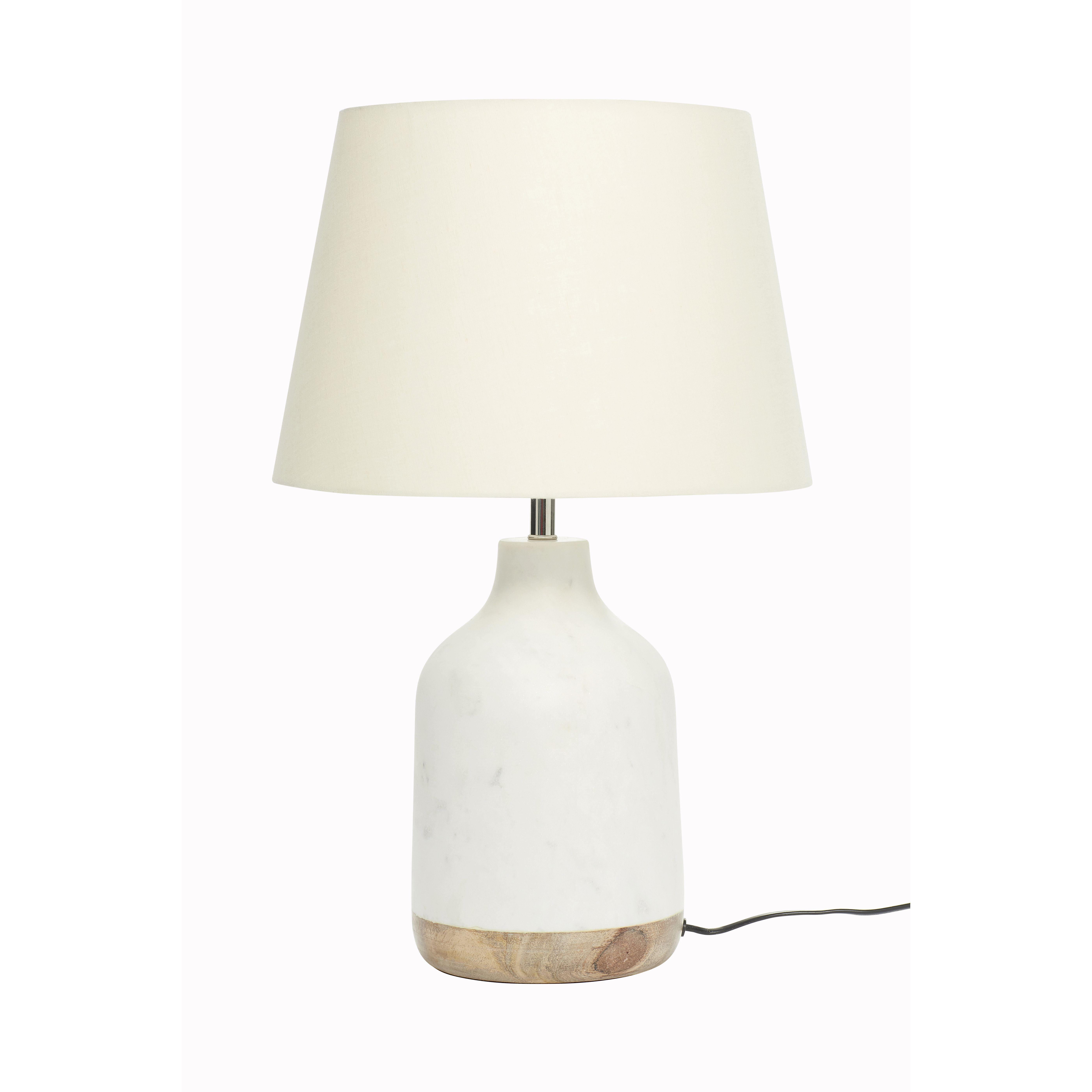 Table lamp w white shade marble mango wood white nature Product
