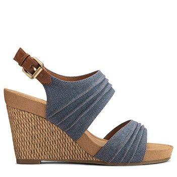 A2 by Aerosoles Women's May Plush Wedge Sandals (Denim Combo)