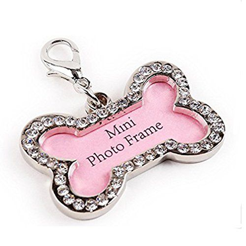 septdaner pet id tags bone shaped jewelry tag rhinestone luxury bone