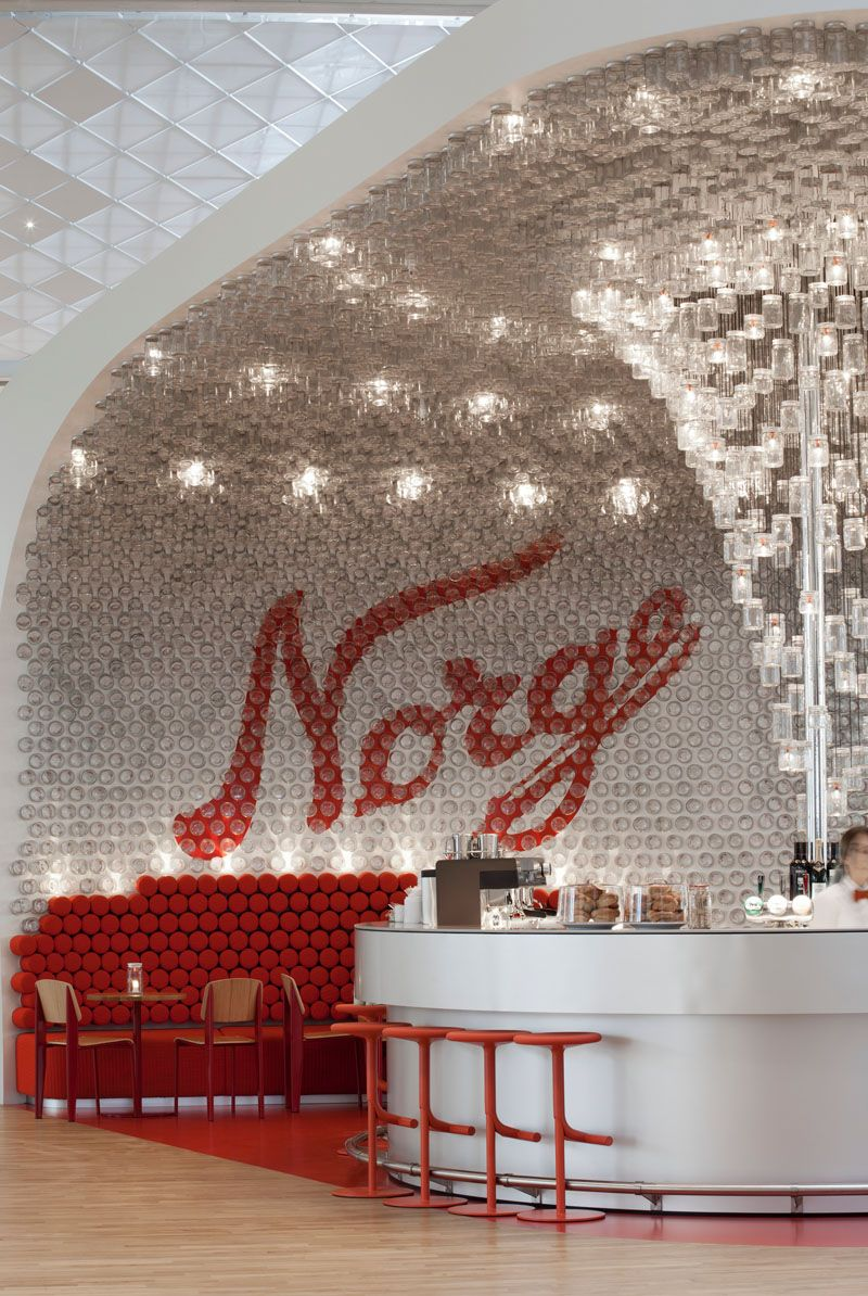 Over 4 000 Glass Jars Line The Walls And Ceiling Of This Airport Bar In Oslo Bar Design Restaurant Design Design