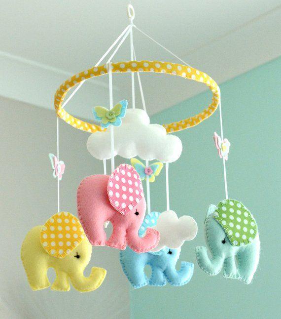 Bebé – elefante Mobile – vivero móvil – lunares elefantes – multicolor – fieltro móvil – hecho por encargo