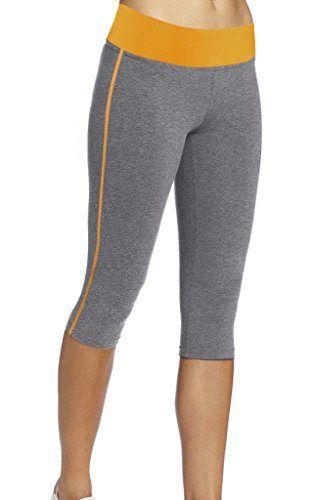 bccaa82a73902 4HOW Women s Capri Tights Running Yoga Pants Fitness Leggings Grey  amp   Yellow Large Size -