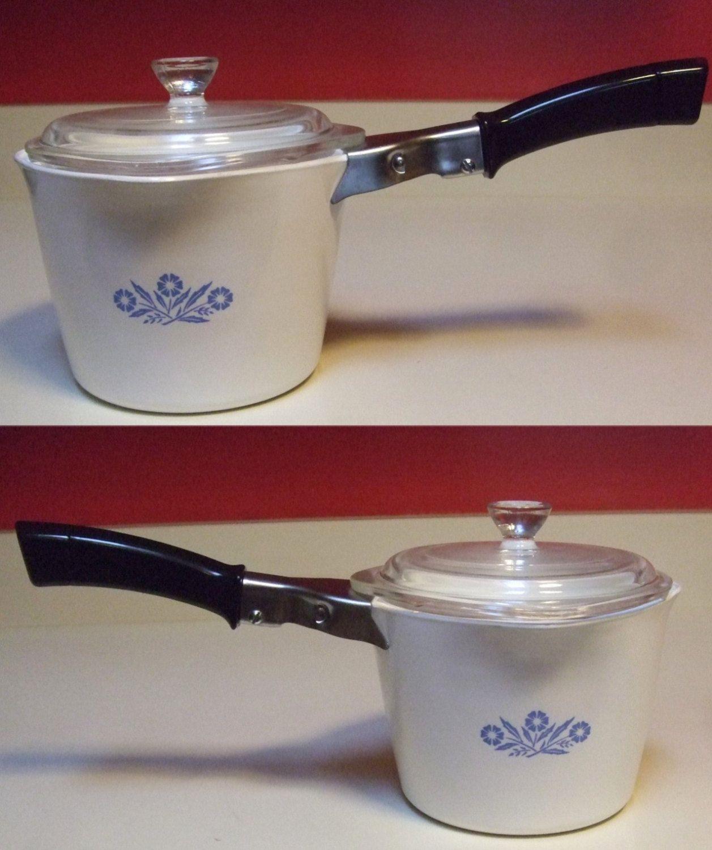 1 Quart 4 Cups // 32 Oz Lid Corning Ware Cornflower Blue Saucemaker Pan No
