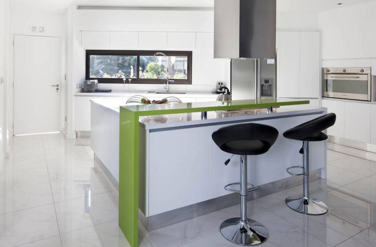 Refreshing green accents at modern kitchen furnished with modern