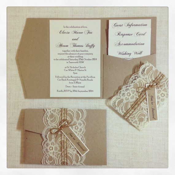 Final Payment Rustic Lace Wedding Invitations Etsy Wedding Invitations Rustic Lace Pocket Fold Wedding Invitations Wedding Invitations Rustic Elegant