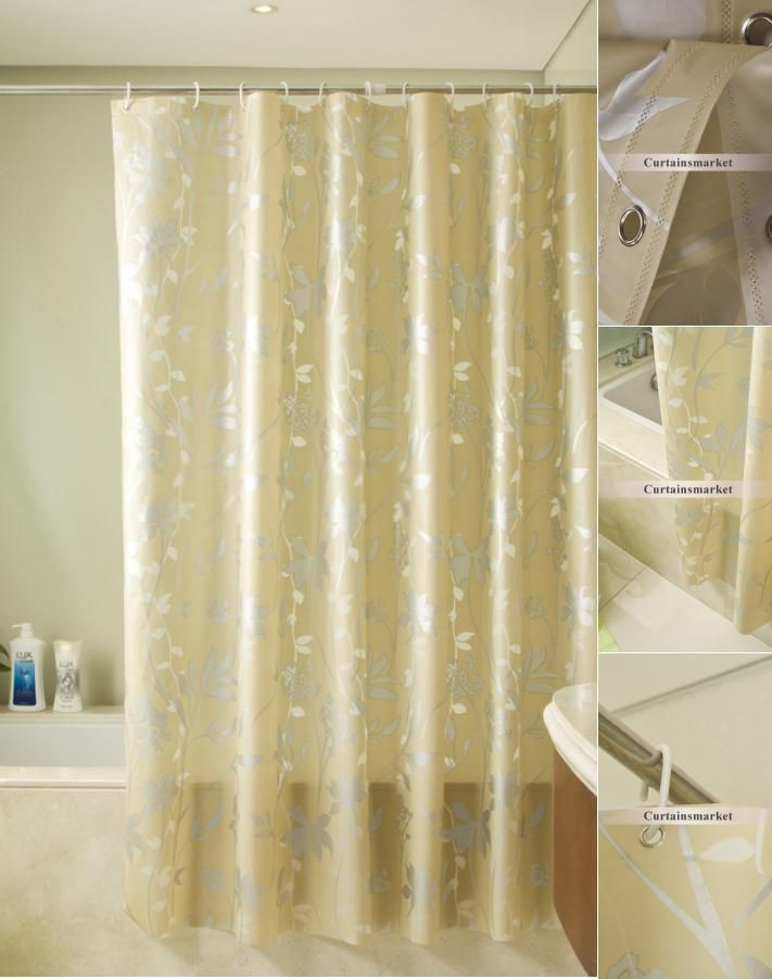 Luxury Gold Shower Curtain Of Leaf Patterns Gold Shower Curtain