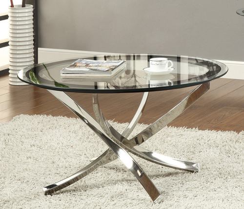 Elegant Black Chrome Round Coffee Table Tempered Glass Table