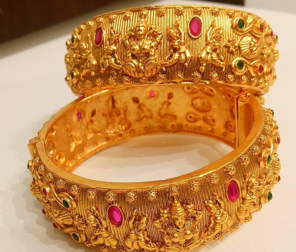 Beautiful one gram gold bangle with lakshmi devi desin.Price:2200 ...