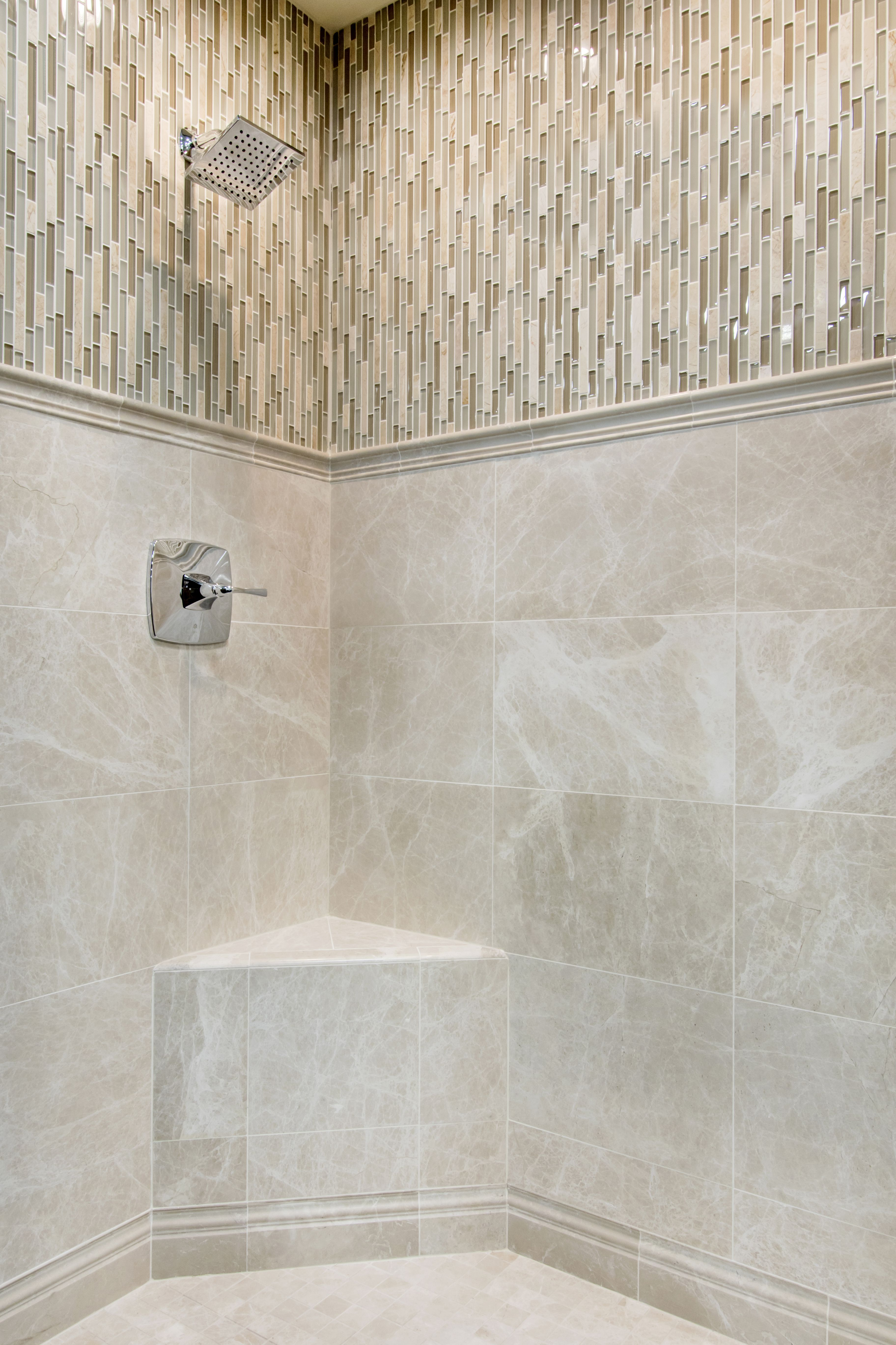 Cappuccino bathroom tiles - This Mosaic Composition Combines Cappuccino Colored Marble Tile With Geometric Stria In Taupe Platinum