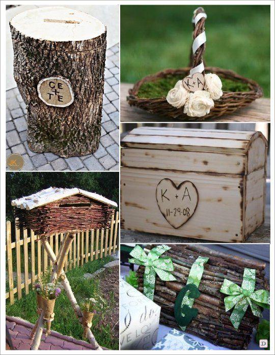 deco mariage theme hiver idees mariage c r pinterest urne tronc et panier. Black Bedroom Furniture Sets. Home Design Ideas