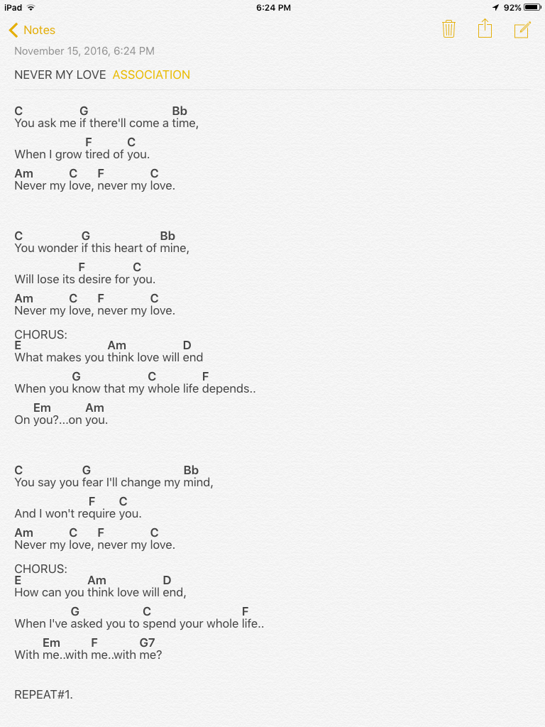Never My Love By The Association Ukulele Songs Pinterest