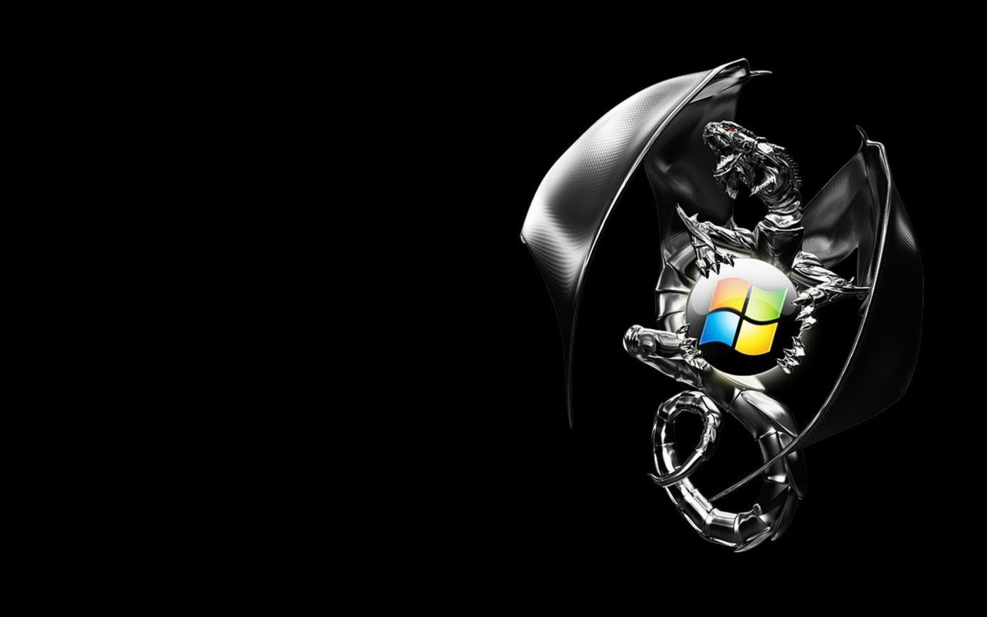 windows 7 dragon black background hd wallpaper | fondos de pantalla