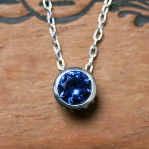Sapphire bezel birthstone necklace - September birthstone - imitation blue sapphire - bezel necklace - wrought collection - navy blue