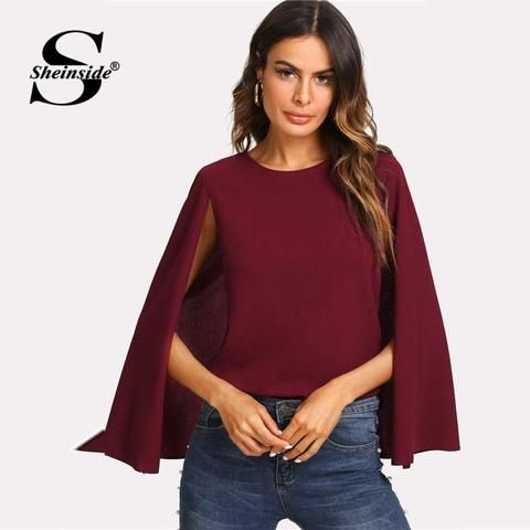 d08ce3493c Sheinside Keyhole Back Burgundy Blouse Women Round Neck Cloak Sleeve Shirt  2018 Summer Office Work Wear Elegant Blouse