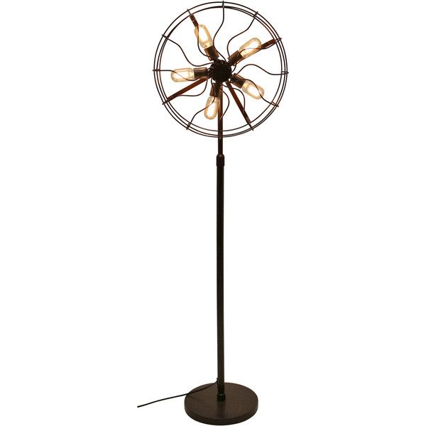 Modern Vintage Industrial Metal Fan Shaped Floor Lamp With Pedal Foot Switch