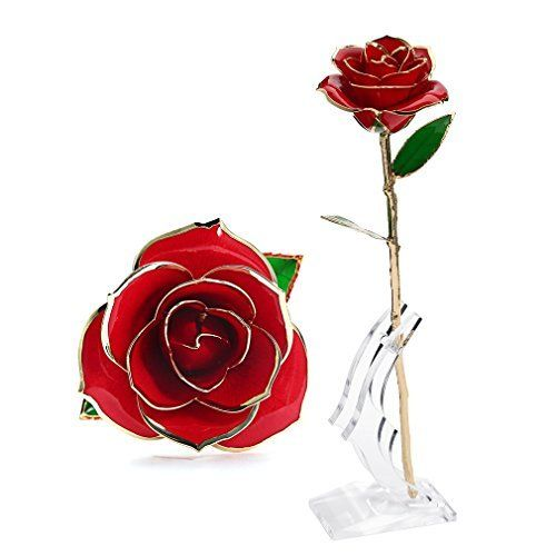 13 Inch Glass Roses Set Of 6 Assorted Colors
