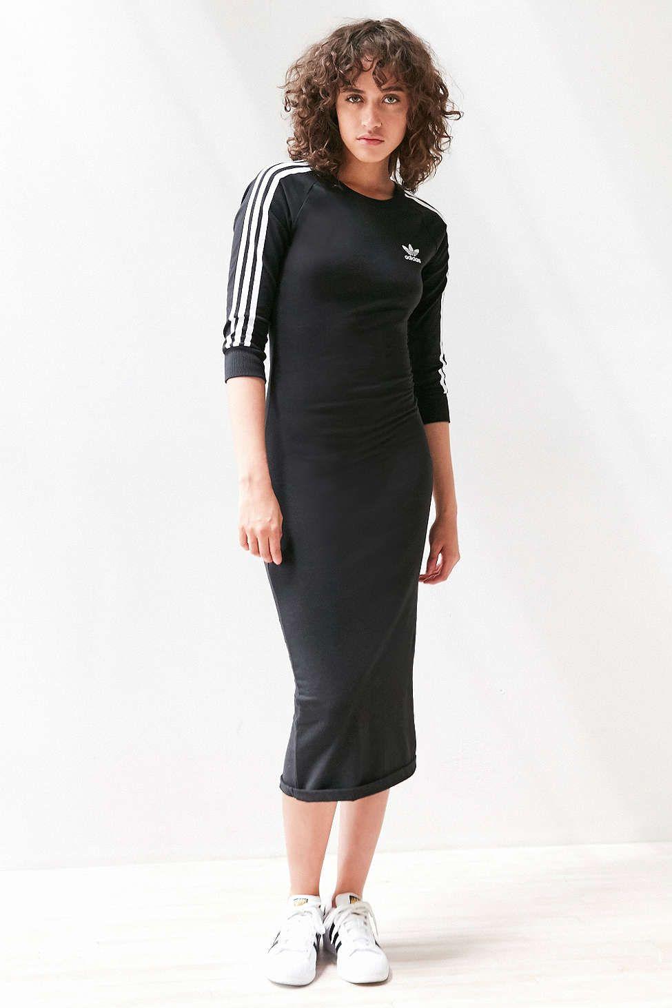e6a11135a0 adidas Originals 3-Stripe Bodycon Midi Dress