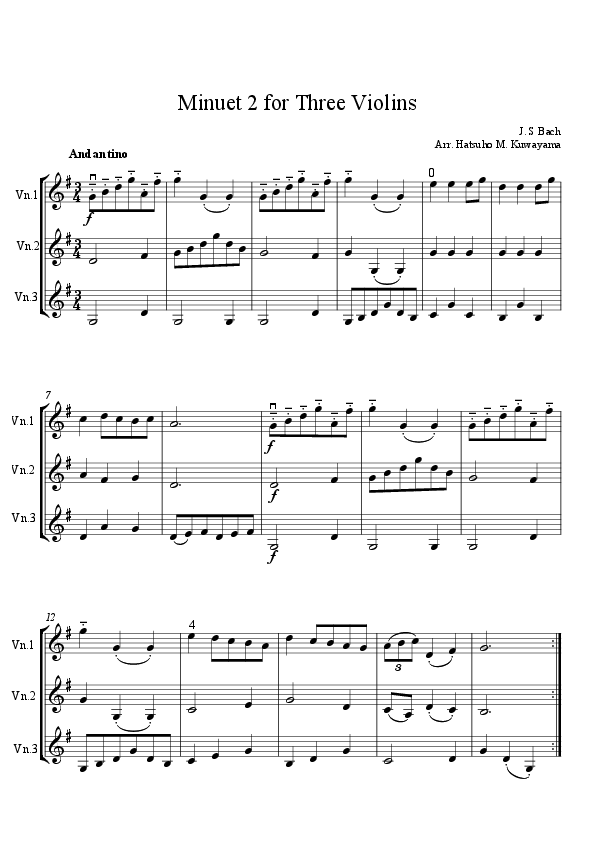 Minuet 2 for Three Violins | Places to Visit | Pinterest | Sheet ...
