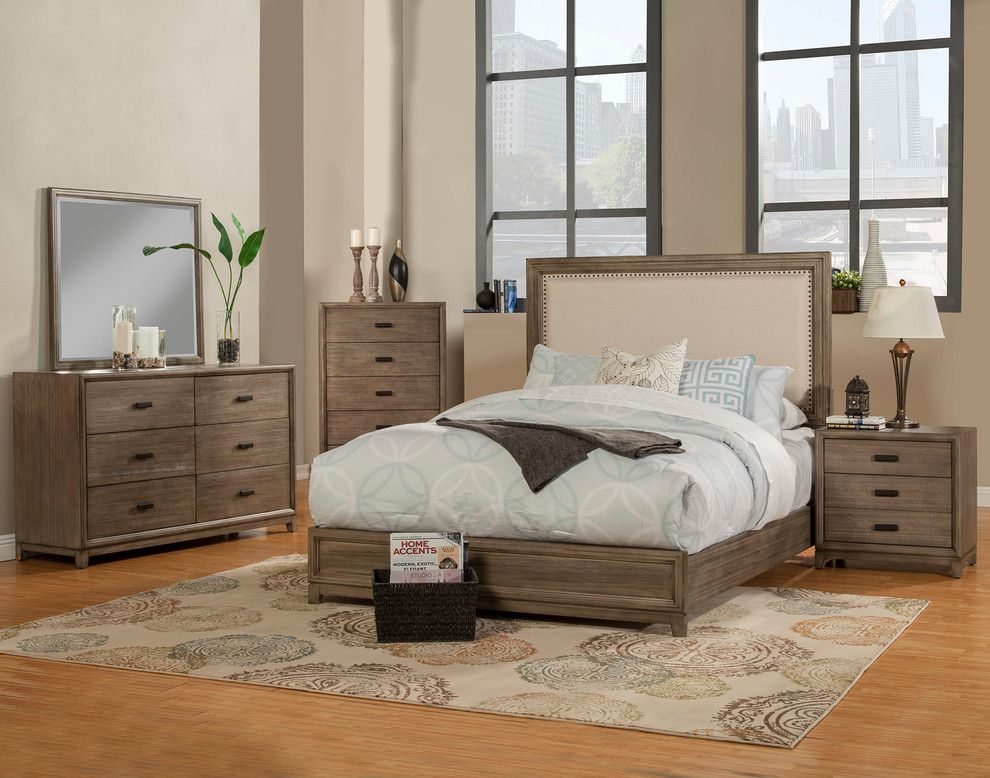 Camilla Panel Bed With Upholstered Headboard And Nailheads Standard King Furniture Panel Bed Modern Murphy Beds