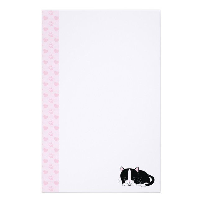 Sleepy Kitty {Tuxedo} Stationery | Zazzle.com