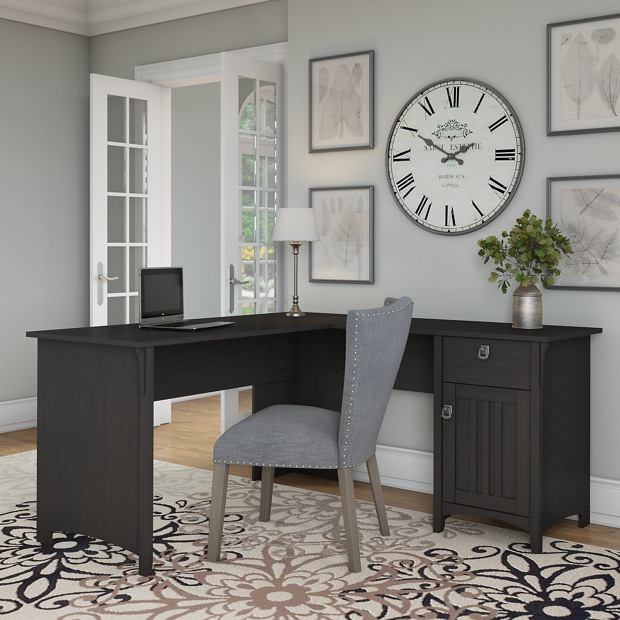 The Gray Barn Lowbridge L Shaped Desk With Storage In Vintage Black With Images L Shaped Corner Desk Home Office Furniture Home Office Design