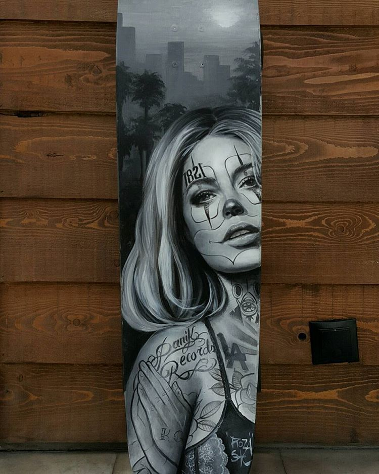 74aa1bfce Fantastic commissioned realistic artwork on this longboard from Roza! # saketattoocrew #artwork #realism #realistic #portrait #longboard