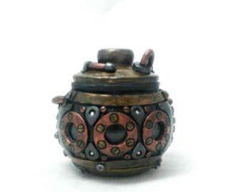 Steampunk Stash Jar  polymer clay industrial jar by LeftHandAsylum