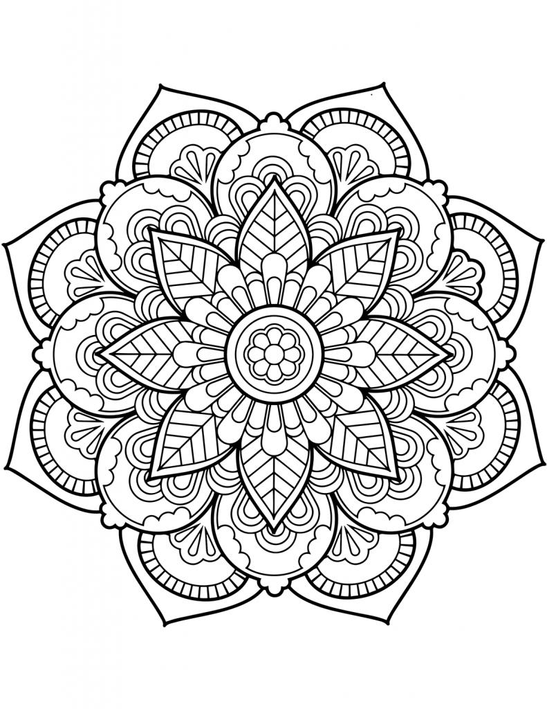 e18ede1d41f099c555b1de734d4997aa » Mandala Flower Coloring Page