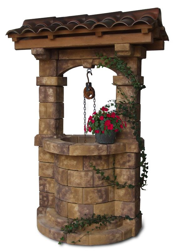 Pozzo da giardino brenta con tetto old stone pozzi - Pozzi da giardino ...