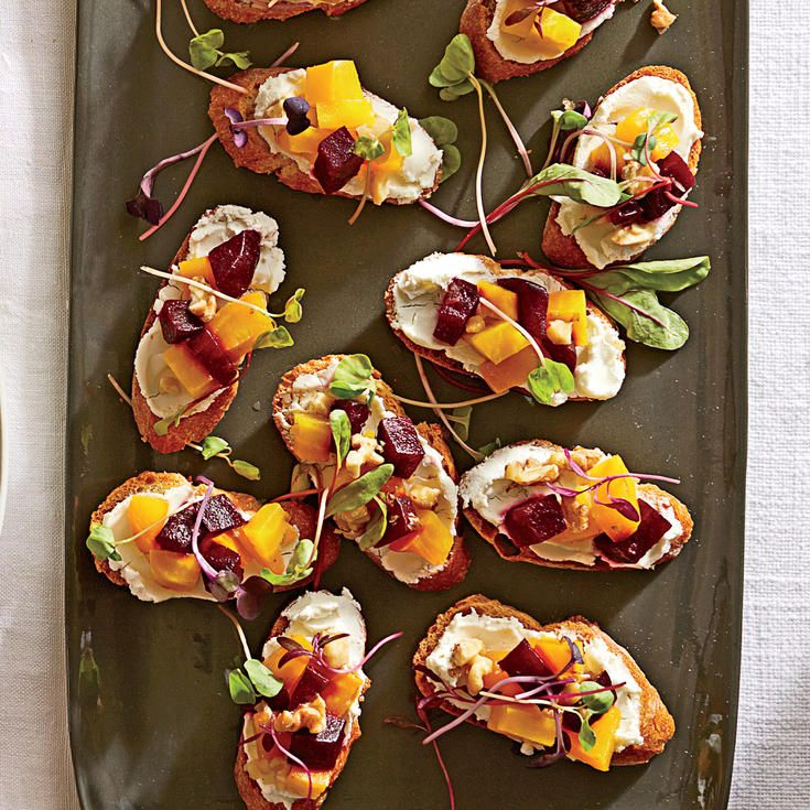 Halloween Appetizers Goat cheese crostini, Beet and goat