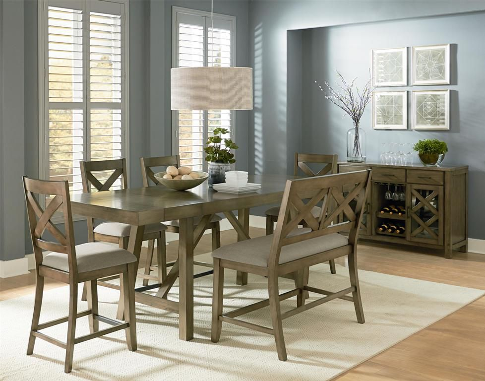 Kitchen: Unfinished Oak Counter Height Dining Table Set Also Counter Height  Dining Table Set 9