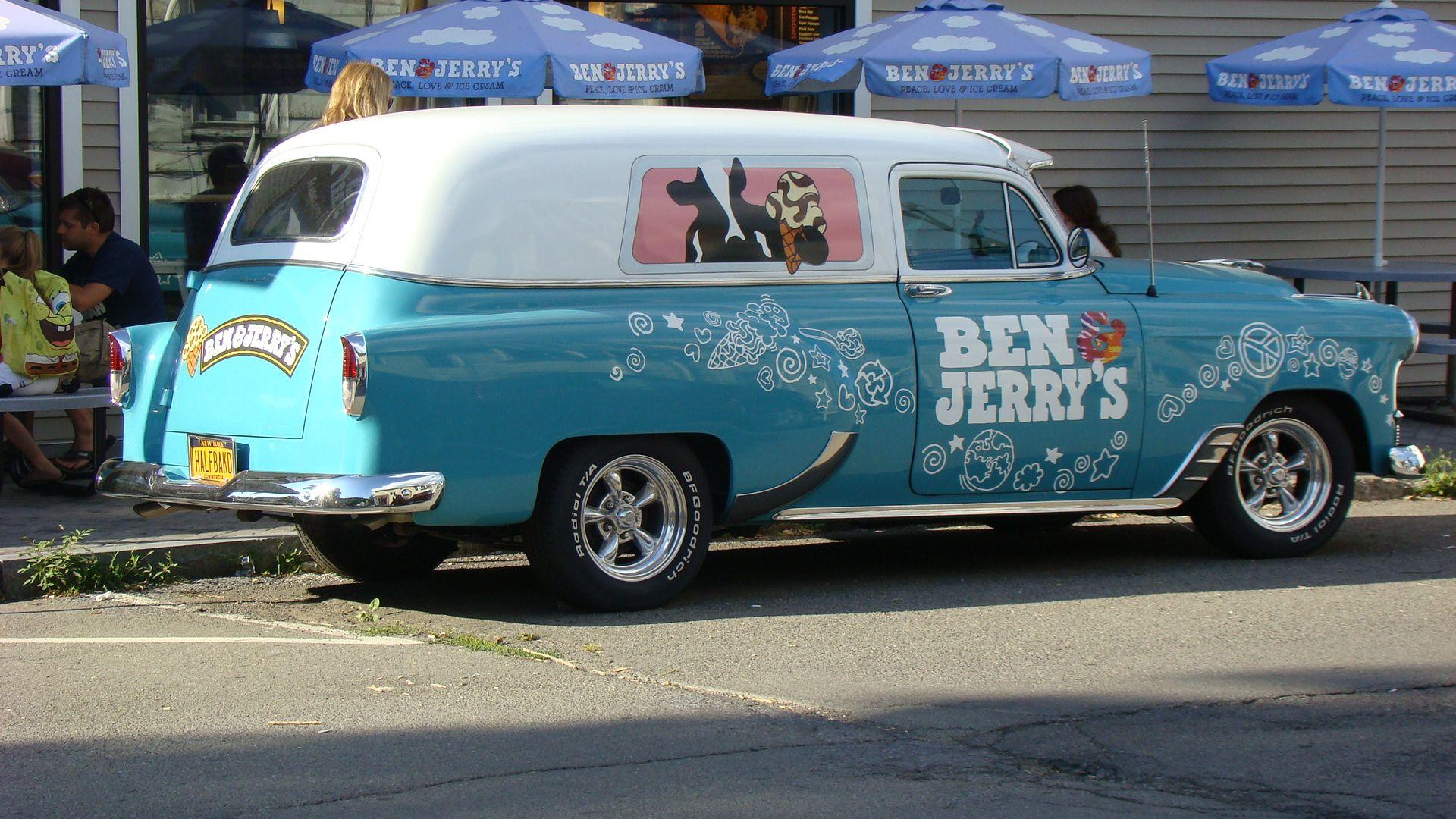 Ben & Jerry's car outside their shop in Watkins Glen, NY.
