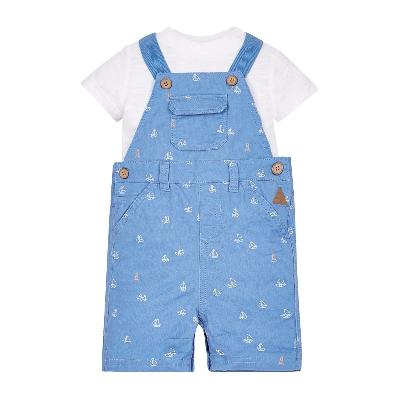 659f4d28f7b72 Mothercare Baby Boys' Mb Lab Navy Lyocell Bibshort and Tee Set T-Shirt