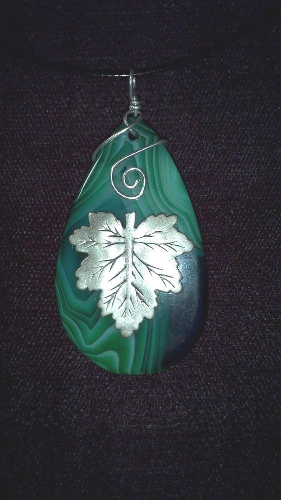 Green Agate with Leaf Necklace one of a kind Wicca