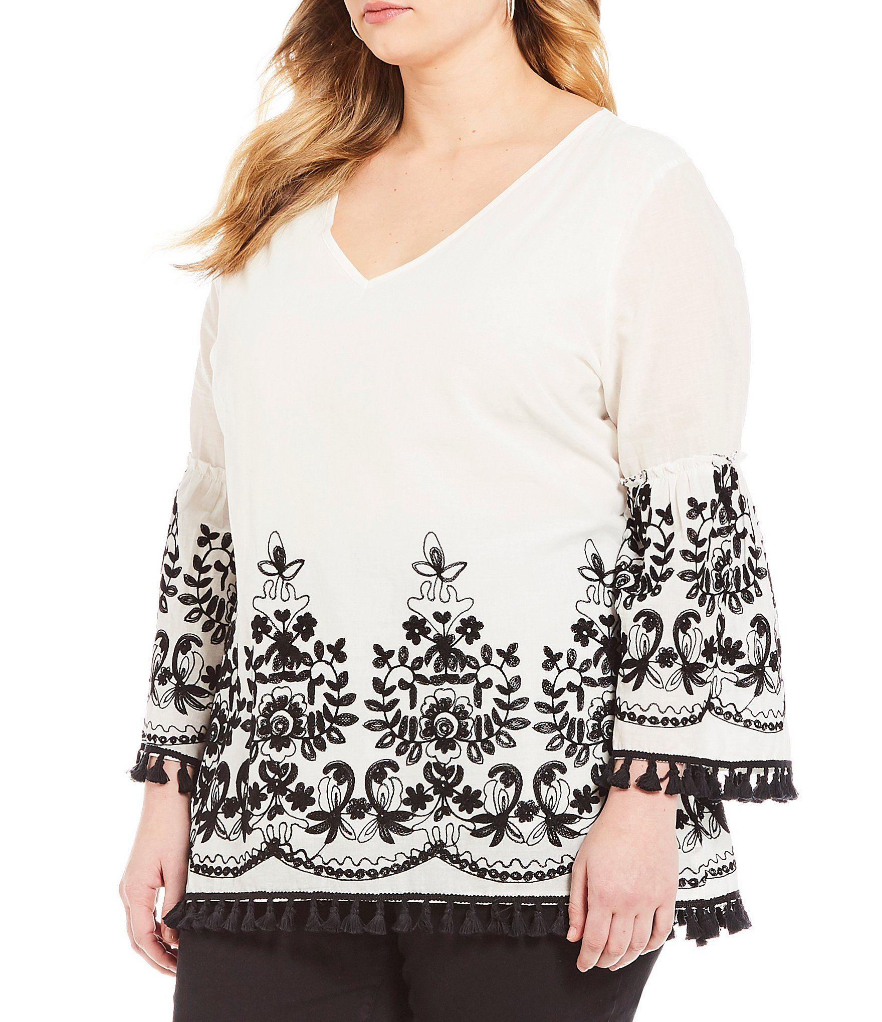 51ff4235c4d2c8 Calessa Plus 34 Bell Sleeve Embroidered Blouse #Dillards | Wedding ...