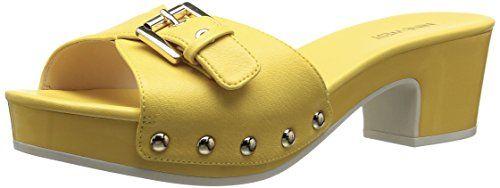 Nine West Women's Forchen Synthetic Slide Sandal, Yellow, 11 M US Nine West  http