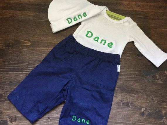 Custom name baby onesie and pants gift set by nylakelleydesigns custom name baby onesie and pants gift set newborn boys girls personalized new baby gifts monogrammed embroidered bring home baby outfit negle Gallery