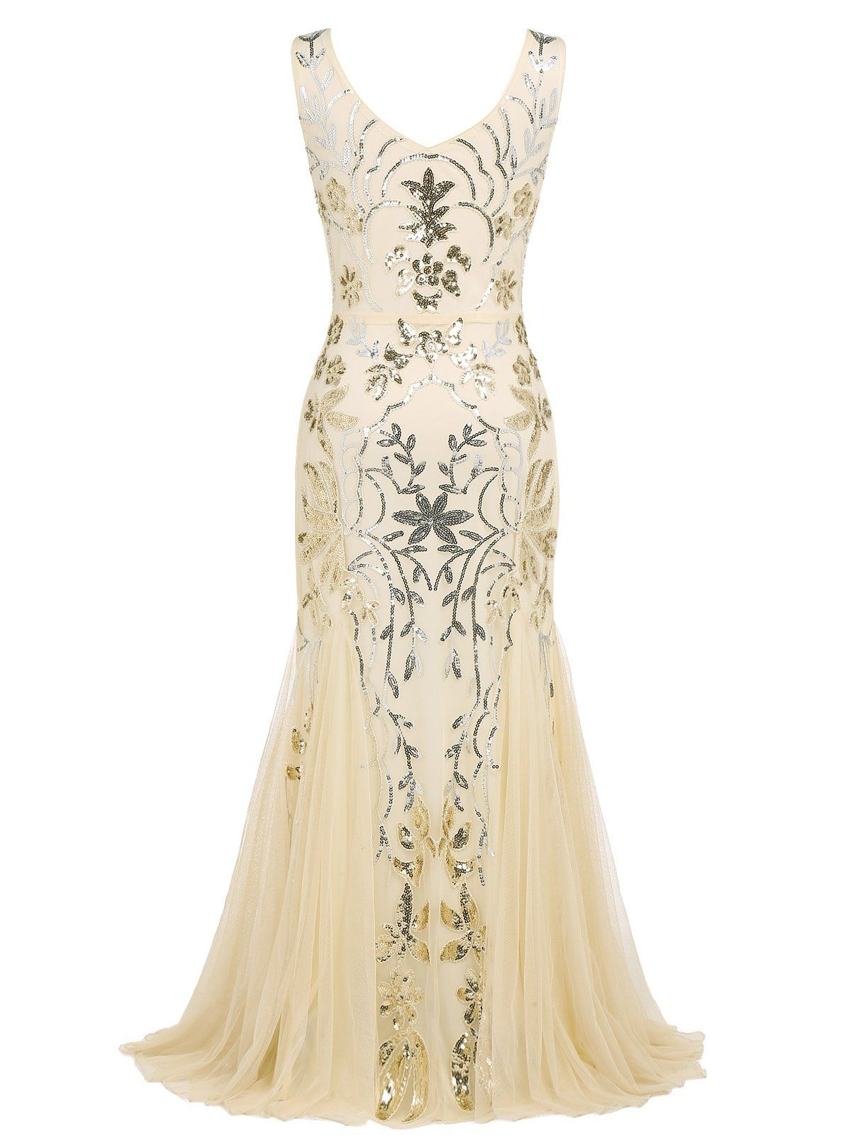 65ab4197f78 Apricot 1920s Sequin Maxi Dress – Retro Stage - Chic Vintage Dresses and  Accessories
