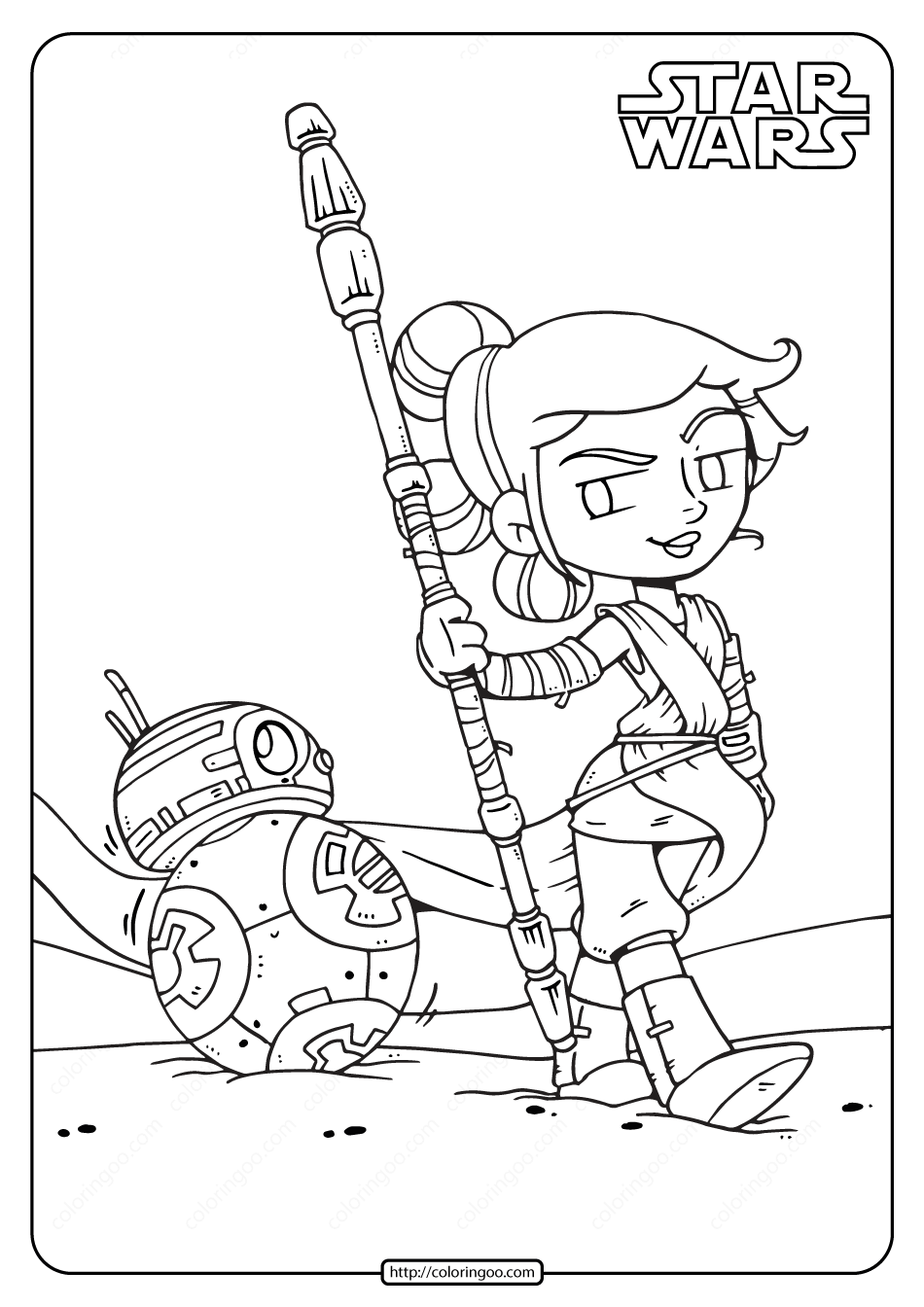 Printable Star Wars Rey And Bb 8 Coloring Pages Star Wars Coloring Sheet Star Wars Cartoon Star Wars Colors